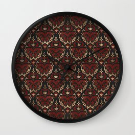 Persian Oriental Pattern - Black and Red Leather Wall Clock