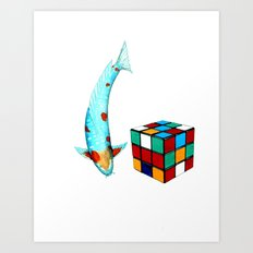 Japanese Koi Ochiba cubism Art Print