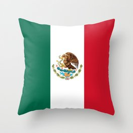The Mexican national flag - Authentic high quality file Throw Pillow