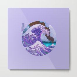 Great Wave Off Kanagawa Mount Fuji Eruption Metal Print