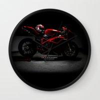 ducati Wall Clocks featuring Ducati 1198 Sp by Elias Silva Photography