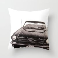 mustang Throw Pillows featuring Mustang by Lindsay Carter