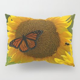 The butterfly the bee and the sunflower Pillow Sham