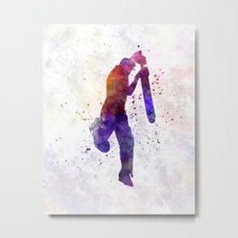 Cricket player batsman silhouette 09 Metal Print