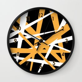 Yellow White and Black Abstract Stripes Wall Clock