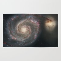 nasa Area & Throw Rugs featuring Bright spiral nebula galaxy stars hipster geek cool space star nebulae NASA photo sci-fi landscape by iGallery