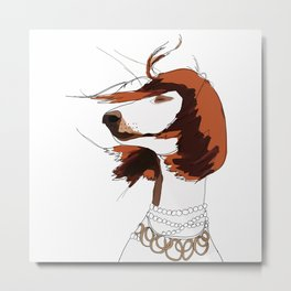 Messy Hair Don't Care Dog Metal Print