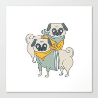 pugs Canvas Prints featuring Pugs by Ann Rubin
