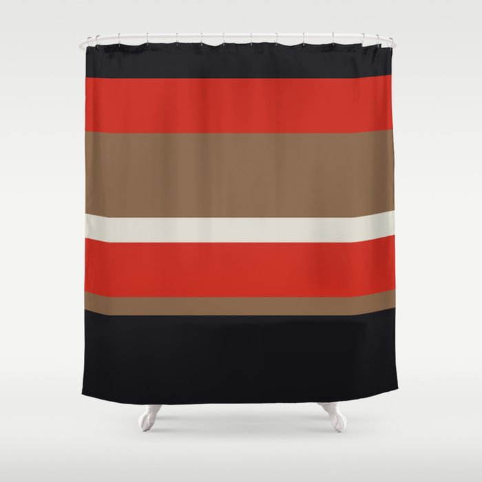 Dusty White Bitter Fawn Band Shower Curtain