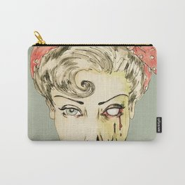 zombie pin-up retro housewife horror rockabilly scarf wearing strong woman Carry-All Pouch