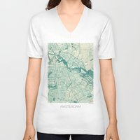 vintage map V-neck T-shirts featuring Amsterdam Map Blue Vintage by City Art Posters