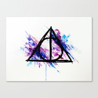 deathly hallows Canvas Prints featuring Deathly Hallows by Sterekism