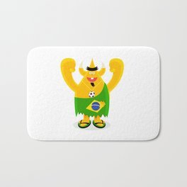 Brazilian samba mamba beach bum footy fan character Bath Mat