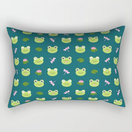Frogs, Dragonflies and Lilypads on Teal Rectangular Pillow