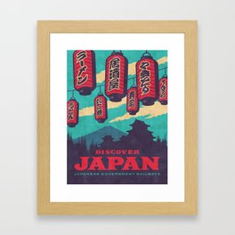 Japan Travel Tourism with Japanese Castle, Mt Fuji, Lanterns Retro Vintage - Blue Framed Art Print