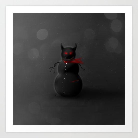 Dark Snowman Art Print