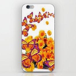 PURPLE-GOLDEN MONARCH BUTTERFLIES FLORAL iPhone Skin