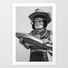 Buck Atom Space Cowboy Tulsa Muffler Man on Route 66 - Monochrome Art Print