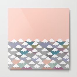 Nature background with Mountain landscape. Gray, pink, blue navy mountain with snow-capped peaks. Metal Print