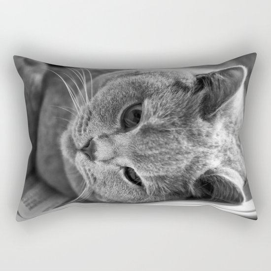 Cat Black white 3 Rectangular Pillow