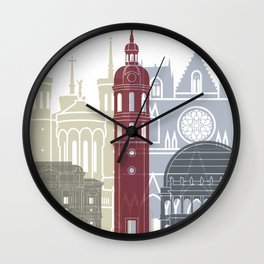 Lyon skyline poster Wall Clock