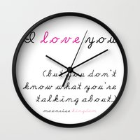 wes anderson Wall Clocks featuring Moonrise Kingdom Wes Anderson Movie Quote by FountainheadLtd