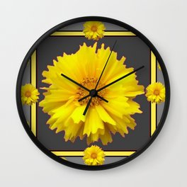 YELLOW & GREY  ART COREOPSIS FLOWERS Wall Clock