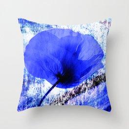 Blue Poppy vintage 222 Throw Pillow