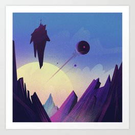 Flight over an unknown planet Art Print