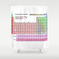 periodic table Shower Curtains featuring Periodic Table Of  The Elements by GrafXthings