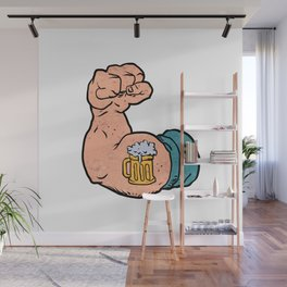 arm flexed with beer tattoo Wall Mural