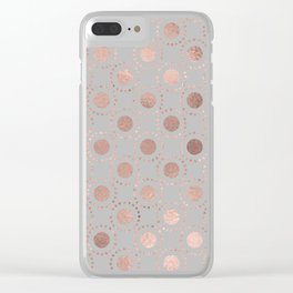 Rosegold simple pink metal foil polkadots on grey background 1 Clear iPhone Case
