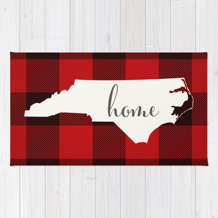 North Carolina is Home - Buffalo Check Plaid Rug