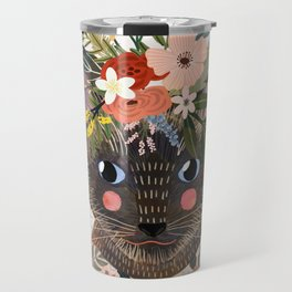 Siamese Cat with Flowers Travel Mug