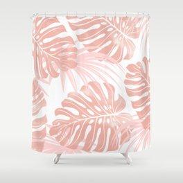 Blush Tropical Leaves Shower Curtain