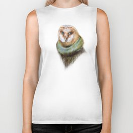 Animals - Funny Owl Painting Biker Tank