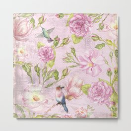 Floral painterly background in pink with Roses Flowers and Birds Metal Print