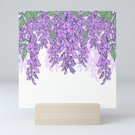 Light morning with flowers white pattern Mini Art Print