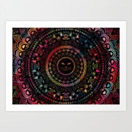 Rainbow Kitty Cat Mandala Art Print