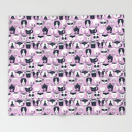 Cuddly Tea Time // white navy & light orchid pink animal mugs Throw Blanket