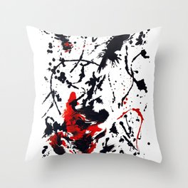 Red and Black Abstract Guitar Throw Pillow