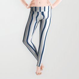 Iris Blue Pinstripe On White Leggings