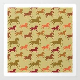 Prairie Horses Running Riding Equestrian Rider  Art Print