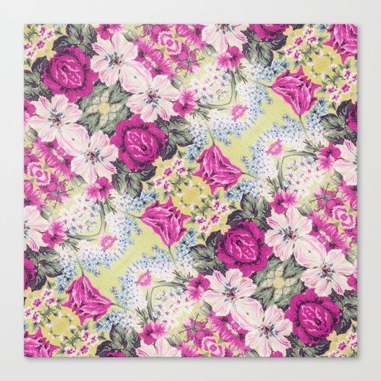 Trendy Vintage Purple Teal Floral Fashion Pattern Canvas Print