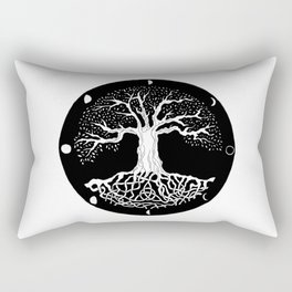 black and white tree of life with moon phases and celtic trinity knot Rectangular Pillow