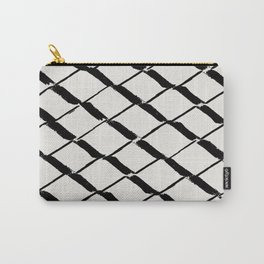 Modern Diamond Lattice Black on Light Gray Carry-All Pouch