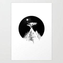 Moon tight to a tree Art Print