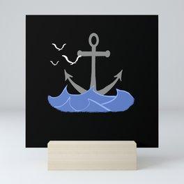 Anchor with waves, sea, east sea, north sea Mini Art Print