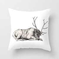 stag Throw Pillows featuring Stag // Graphite by Sandra Dieckmann