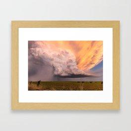 Storm Runner - Thunderstorm in Golden Light Over Kansas Landscape Framed Art Print